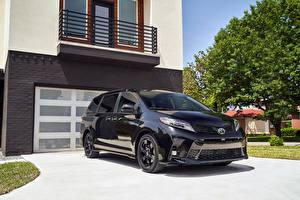 Hintergrundbilder Toyota Ein Van Schwarz Metallisch 2020 Sienna Nightshade automobil