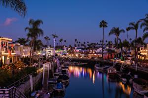 Bilder USA Neujahr Haus Schiffsanleger Abend Kalifornien Kanal Long Beach Städte