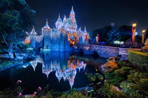 Image USA Disneyland Park Castle Pond Bridge California Night time Reflected Street lights Nature