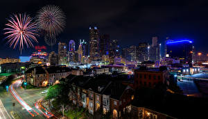 Picture USA Houses Fireworks Street Night Dallas Cities