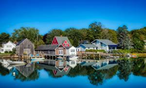 Bilder USA Haus Schiffsanleger Boot Dorf Kennebunkport, Maine Städte