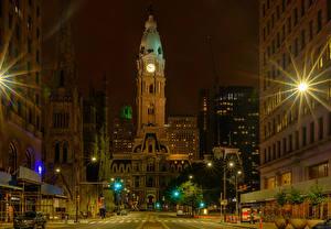 Bilder Vereinigte Staaten Gebäude Nacht Lichtstrahl Stadtstraße Straßenlaterne Philadelphia Städte