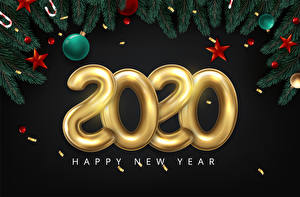 Hintergrundbilder Vektorgrafik Neujahr Schwarzer Hintergrund Text 2020 Ast Kugeln Stern-Dekoration Englische