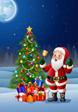 Pictures Vector Graphics New year New Year tree Santa Claus Present Handbell