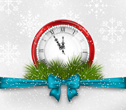 Photo Vector Graphics New year Clock Ribbon Bow knot