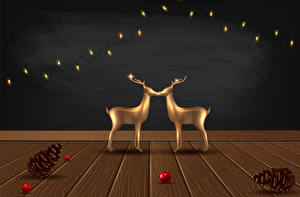 Pictures Vector Graphics Christmas Deer Wood planks Pine cone Fairy lights