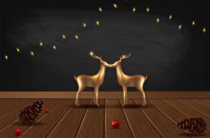 Hintergrundbilder Vektorgrafik Neujahr Hirsche Bretter Zapfen Lichterkette