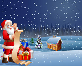 Wallpaper Vector Graphics Christmas Building Snow Santa Claus Uniform Glasses Present New Year tree