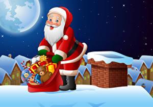 Bilder Vektorgrafik Neujahr Weihnachtsmann Geschenke Uniform Dach Mond Nacht