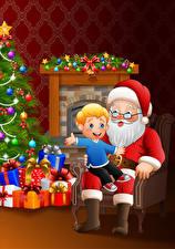 Bureaubladachtergronden Vectorafbeelding Kerst Kerstman Zittend Jongens Cadeau Ballen