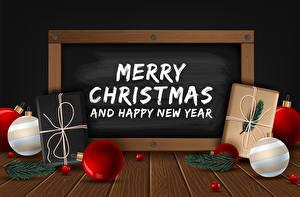 Desktop hintergrundbilder Vektorgrafik Neujahr Bretter Wort Kugeln Geschenke Ast Englisch