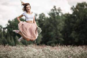 Wallpaper Jump Skirt Blurred background Vladimir Vasiliev young woman