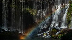 Bureaubladachtergronden Watervall Japan Regenboog Shiraito Falls Natuur