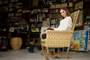 Wallpapers Room Wing chair Sit Sweater Brown haired Alena young woman