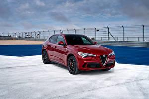 Hintergrundbilder Alfa Romeo Rot Metallisch 2018 Stelvio Quadrifoglio