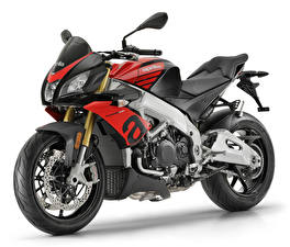 Fotos Aprilia Weißer hintergrund 2019 Tuono V4 1100 RR Motorräder