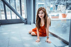 Fotos Asiaten Sitzt Kleid Dekolletee Braune Haare Starren junge frau