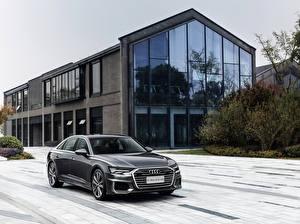 Desktop hintergrundbilder Audi Graue Metallisch 2019-20 A6L 55 TFSI quattro S line auto