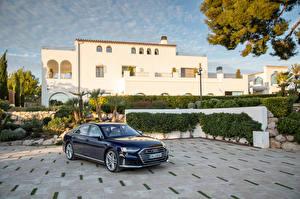 Hintergrundbilder Audi Blau Metallisch 2019-20 S8 Worldwide Autos
