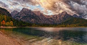 Fotos Österreich Gebirge See Küste Herbst Wolke lake Almsee