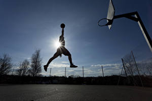 Picture Basketball Man Jump Rays of light Ball Sport