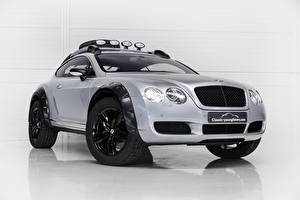 Bilder Bentley Weißer hintergrund Silber Farbe 2018 Continental GT Off Road auto