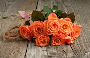 Pictures Bouquets Roses Wood planks Orange flower