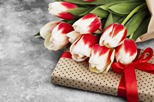 Images Bouquets Tulip Box Ribbon Present