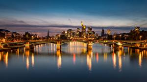 Fotos Brücke Abend Fluss Deutschland Frankfurt am Main Städte