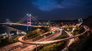 Fotos Brücke Hongkong Straße Nacht Tsing Ma Bridge