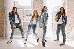 Image Brown haired Dancing Jeans Hands Four 4 female