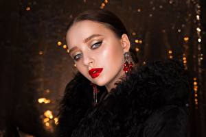 Pictures Brunette girl Glance Makeup Red lips Face Girls