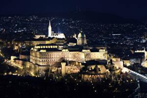 Tapety na pulpit Budapeszt Węgry Zamek Noc Buda Castle