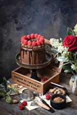 Bureaubladachtergronden Taart Chocolade Framboos Ontwerp Cacaopoeder Voedsel