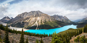 Wallpaper Canada Parks Mountains Lake Forest Landscape photography Banff Spruce Nature