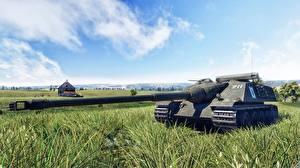 Fotos Kanone War Thunder Selbstfahrlafette Gras AMX 50 Foch computerspiel