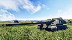 Pictures Cannon War Thunder Self-propelled gun Grass AMX 50 Foch vdeo game 3D_Graphics