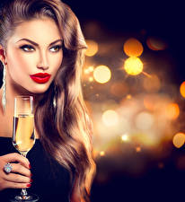 Picture Sparkling wine Brown haired Face Red lips Glance Stemware Hair Makeup Girls