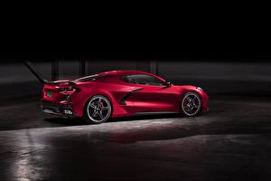 Hintergrundbilder Chevrolet Rot Seitlich 2020 Corvette C8 Stingray auto