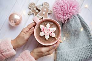 Wallpapers Chocolate Cocoa Hands Mug Bokeh Winter hat Little stars