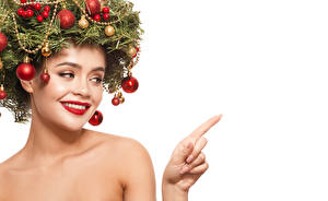 Wallpaper New year Creative Fingers White background Branches Balls Red lips Face Template greeting card young woman