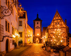 Pictures New year Germany Building Bavaria Street New Year tree Street lights Night time Rothenburg ob der Tauber Cities