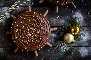 Images Christmas Pie Chocolate Dragee Wood planks Balls