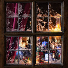 Wallpapers Christmas Teddy bear Candles Window Present Cup
