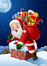 Image New year Vector Graphics Santa Claus Present Uniform Roof