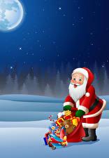 Pictures New year Vector Graphics Santa Claus Uniform Present