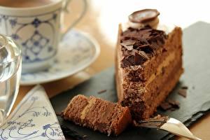 Hintergrundbilder Nahaufnahme Torte Schokolade Unscharfer Hintergrund Stück das Essen