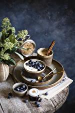 Picture Coffee Cappuccino Cinnamon Blueberries Clock Yogurt Breakfast Food