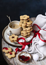 Photo Coffee Cappuccino Cookies Fruit preserves Still-life Cup Ribbon