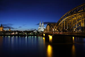 Picture Cologne Germany Bridge River Sunrise and sunset Cathedral Night time Rhine Cities